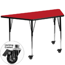 Flash Furniture XU-A3060-TRAP-RED-H-A-CAS-GG Mobile 30''W x 60''L Trapezoid Activity Table with 1.25'' Thick High Pressure Red Laminate Top and Standard Height Adjustable Legs