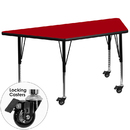 Flash Furniture XU-A3060-TRAP-RED-T-P-CAS-GG Mobile 30''W x 60''L Trapezoid Activity Table with Red Thermal Fused Laminate Top and Height Adjustable Pre-School Legs