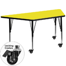 Flash Furniture XU-A3060-TRAP-YEL-H-P-CAS-GG Mobile 30''W x 60''L Trapezoid Activity Table with 1.25'' Thick High Pressure Yellow Laminate Top and Height Adjustable Pre-School Legs
