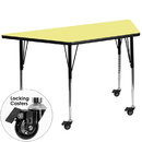 Flash Furniture XU-A3060-TRAP-YEL-T-A-CAS-GG Mobile 30''W x 60''L Trapezoid Activity Table with Yellow Thermal Fused Laminate Top and Standard Height Adjustable Legs