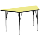 Flash Furniture XU-A3060-TRAP-YEL-T-A-GG 30''W x 60''L Trapezoid Activity Table with Yellow Thermal Fused Laminate Top and Standard Height Adjustable Legs