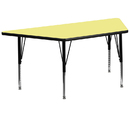 Flash Furniture XU-A3060-TRAP-YEL-T-P-GG 30''W x 60''L Trapezoid Activity Table with Yellow Thermal Fused Laminate Top and Height Adjustable Pre-School Legs