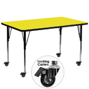 Flash Furniture XU-A3072-REC-YEL-H-A-CAS-GG Mobile 30''W x 72''L Rectangular Activity Table with 1.25'' Thick High Pressure Yellow Laminate Top and Standard Height Adjustable Legs