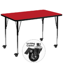 Flash Furniture XU-A3672-REC-RED-H-A-CAS-GG Mobile 36''W x 72''L Rectangular Activity Table with 1.25'' Thick High Pressure Red Laminate Top and Standard Height Adjustable Legs