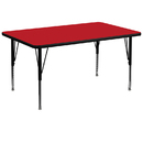Flash Furniture XU-A3672-REC-RED-H-P-GG 36''W x 72''L Rectangular Activity Table with 1.25'' Thick High Pressure Red Laminate Top and Height Adjustable Pre-School Legs