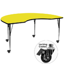 Flash Furniture XU-A4872-KIDNY-YEL-H-A-CAS-GG Mobile 48''W x 72''L Kidney Shaped Activity Table with 1.25'' Thick High Pressure Yellow Laminate Top and Standard Height Adjustable Legs