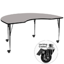 Flash Furniture XU-A4896-KIDNY-GY-H-A-CAS-GG Mobile 48''W x 96''L Kidney Shaped Activity Table with 1.25'' Thick High Pressure Grey Laminate Top and Standard Height Adjustable Legs