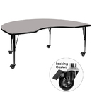 Flash Furniture XU-A4896-KIDNY-GY-H-P-CAS-GG Mobile 48''W x 96''L Kidney Shaped Activity Table with 1.25'' Thick High Pressure Grey Laminate Top and Height Adjustable Pre-School Legs