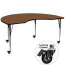Flash Furniture XU-A4896-KIDNY-OAK-H-A-CAS-GG Mobile 48''W x 96''L Kidney Shaped Activity Table with 1.25'' Thick High Pressure Oak Laminate Top and Standard Height Adjustable Legs