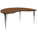 Flash Furniture XU-A4896-KIDNY-OAK-H-A-GG 48''W x 96''L Kidney Shaped Activity Table with 1.25'' Thick High Pressure Oak Laminate Top and Standard Height Adjustable Legs