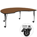 Flash Furniture XU-A4896-KIDNY-OAK-H-P-CAS-GG Mobile 48''W x 96''L Kidney Shaped Activity Table with 1.25'' Thick High Pressure Oak Laminate Top and Height Adjustable Pre-School Legs