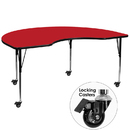 Flash Furniture XU-A4896-KIDNY-RED-H-A-CAS-GG Mobile 48''W x 96''L Kidney Shaped Activity Table with 1.25'' Thick High Pressure Red Laminate Top and Standard Height Adjustable Legs
