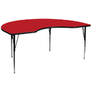 Flash Furniture XU-A4896-KIDNY-RED-H-A-GG 48''W x 96''L Kidney Shaped Activity Table with 1.25'' Thick High Pressure Red Laminate Top and Standard Height Adjustable Legs