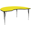 Flash Furniture XU-A4896-KIDNY-YEL-H-A-GG 48''W x 96''L Kidney Shaped Activity Table with 1.25'' Thick High Pressure Yellow Laminate Top and Standard Height Adjustable Legs