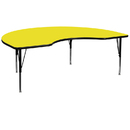 Flash Furniture XU-A4896-KIDNY-YEL-H-P-GG 48''W x 96''L Kidney Shaped Activity Table with 1.25'' Thick High Pressure Yellow Laminate Top and Height Adjustable Pre-School Legs