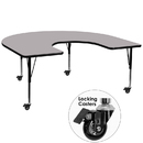 Flash Furniture XU-A6066-HRSE-GY-T-P-CAS-GG Mobile 60''W x 66''L Horseshoe Activity Table with Grey Thermal Fused Laminate Top and Height Adjustable Pre-School Legs