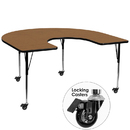 Flash Furniture XU-A6066-HRSE-OAK-T-A-CAS-GG Mobile 60''W x 66''L Horseshoe Activity Table with Oak Thermal Fused Laminate Top and Standard Height Adjustable Legs