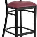 Flash Furniture XU-DG-6H1B-MAH-BAR-BURV-GG HERCULES Series Black Decorative Slat Back Metal Restaurant Barstool - Mahogany Wood Back, Burgundy Vinyl Seat