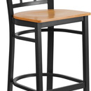 Flash Furniture XU-DG6R7BWIN-BAR-NATW-GG HERCULES Series Black Window Back Metal Restaurant Barstool - Natural Wood Seat, 16