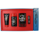 Ed Hardy Born Wild By Christian Audigier - Edt Spray 3.4 Oz & Deodorant Stick Alcohol Free 2.75 Oz & Hair And Body Wash 3 Oz & Edt Spray .25 Oz Mini For Men