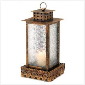 Furniture Creations 12056 Lacy Trim Ornate Glass Panels Kyoto Candle Lantern