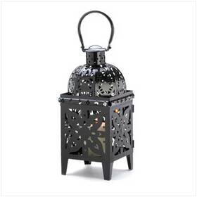 Furniture Creations 13359 Black Medallion Candle Holder Hanging Lantern Decor