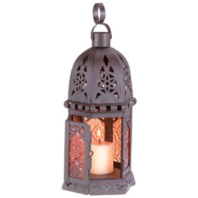 Furniture Creations 33145 Moroccan Metal Amber Glass Candleholder Lantern Light