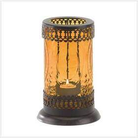 Furniture Creations 37934 Standing Amber Glass Moroccan Lantern Candle Holder
