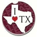 Counter Art CART08573 Texas State Love Car Coaster