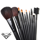 ALICE Makeup 10pcs. Professional Brush Set With Nylon Pouch  - Black