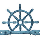 Handcrafted Model Ships K-718-dark-blue Rustic Dark Blue Whitewashed Cast Iron Ship Wheel with Hooks 8