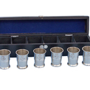 Handcrafted Model Ships MC-2110-BN Brushed Nickel Anchor Shot Glasses With Rosewood Box 12