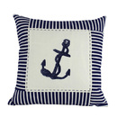 Handcrafted Model Ships Pillow 105 Blue Anchor Nautical Stripes Decorative Throw Pillow 16