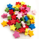 Hygloss 8913 Wooden Colored Star Beads, 125