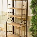 International Caravan 4116 Valencia Resin Wicker/Steel 5-Tier Folding Shelf, Brown Finish