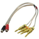 IEC L74256-01 16 AWG Speaker wire pair with RCA Female (Black & Red) to 2 pair Banana Plugs 1'