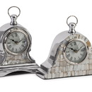 IMAX 60982-2 Aluminum Mother of Pearl Clock - Set of 2