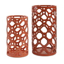 IMAX 87837-2 Archard Cutwork Ceramic Vase - Set of 2