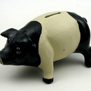 IWGAC 0170S-04616 Cast Iron Pig Bank BlackWhite