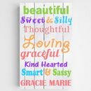 JDS CA0123 Personalized Colorful Kids Canvas Sign
