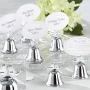 Kate Aspen Lovebirds Silver-Finish Kissing Bell Place Card Holder (Set of 24)