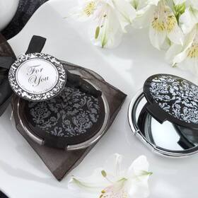 "Kate Aspen ""Reflections"" Elegant Black-and-White Mirror Compact"