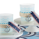 Kate Aspen 20187BL Nautical Frosted Glass Tea Light Holder With Anchor Charm (Set of 4)