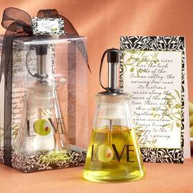 "Kate Aspen ""Olive You!"" Glass LOVE Oil Bottle in Signature Tuscan Box"