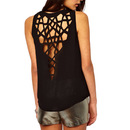 TopTie Hollow Back Solid Color Loose Tank Top Blouse Causal Short Crop Tee