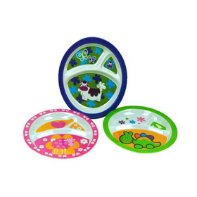 Melamine sectioned plates for kids, assorted designs, Price/package