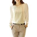 TopTie Women's Long Sleeve Beaded Chiffon Top Casual Loose Blouse Shirt