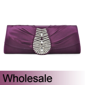 Crystal Decorated Satin Clutch - Wholesale