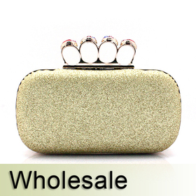 Crystal Knuckle Rings Glitter Hand Case Clutch - Wholesale