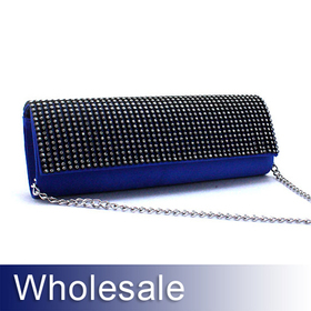 Toptie Crystal Lid Satin Clutch Handbag - Wholesale